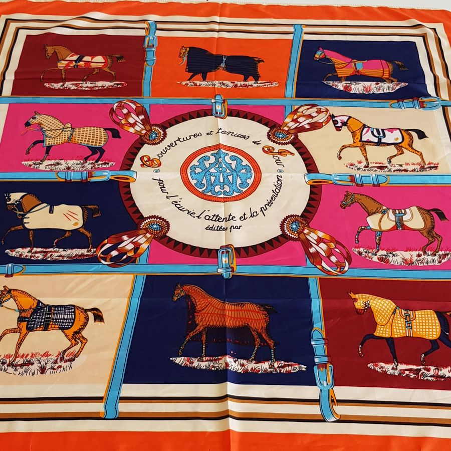 Horse print silk scarf with orange trim