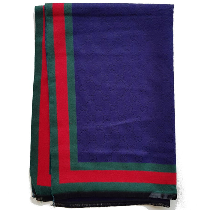 Italian print reversible cashmere scarf in navy - RedMillsStore.ie