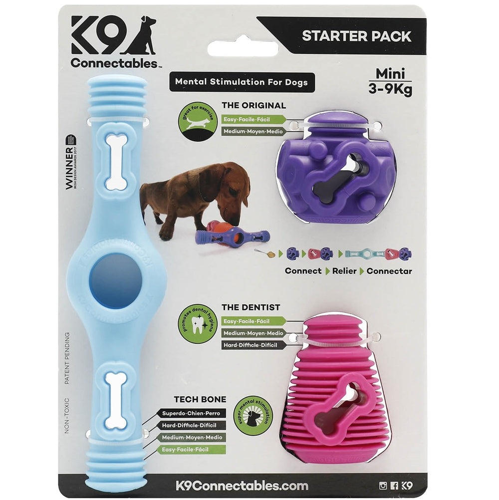 K9 Connectables Mini Starter Pack - Blue, Purple & Pink - RedMillsStore.ie