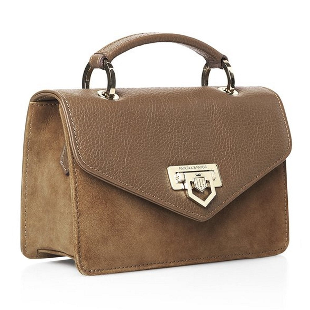 Fairfax & Favor Loxley mini suede & leather cross body bag in tan - RedMillsStore.ie