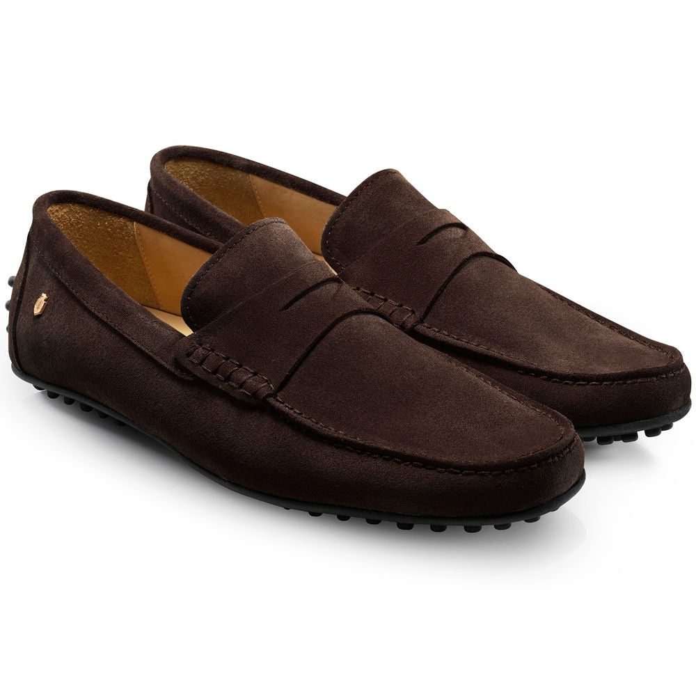 5999c07443d70 Fairfax & Favor Monte Carlo mens suede driving shoe in chocolate ...