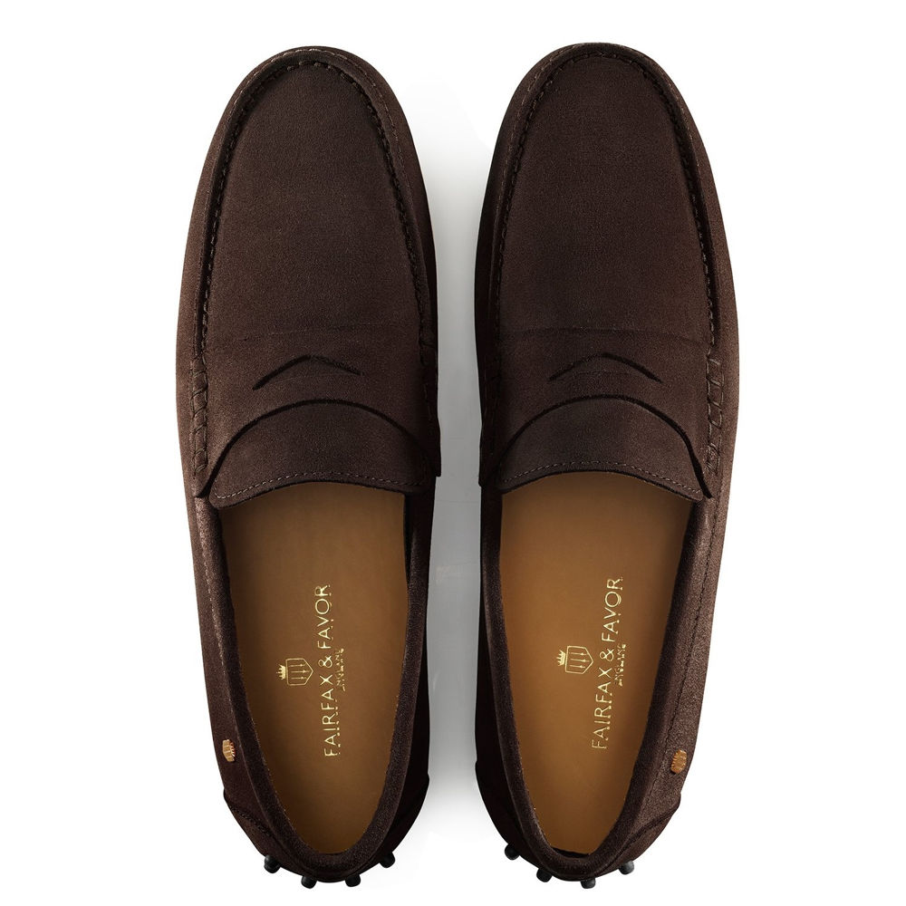 Fairfax & Favor Monte Carlo mens suede driving shoe in chocolate - RedMillsStore.ie