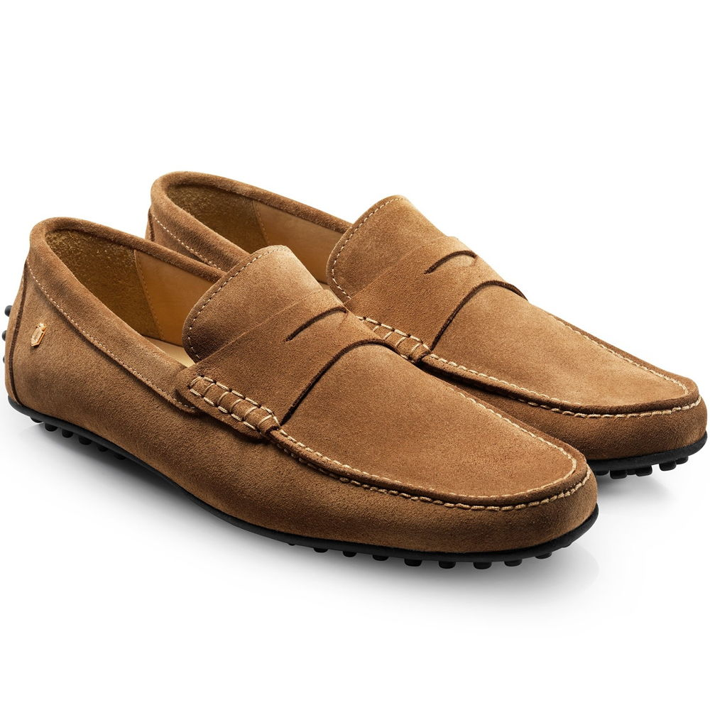 Fairfax & Favor Monte Carlo mens suede driving shoe in tan