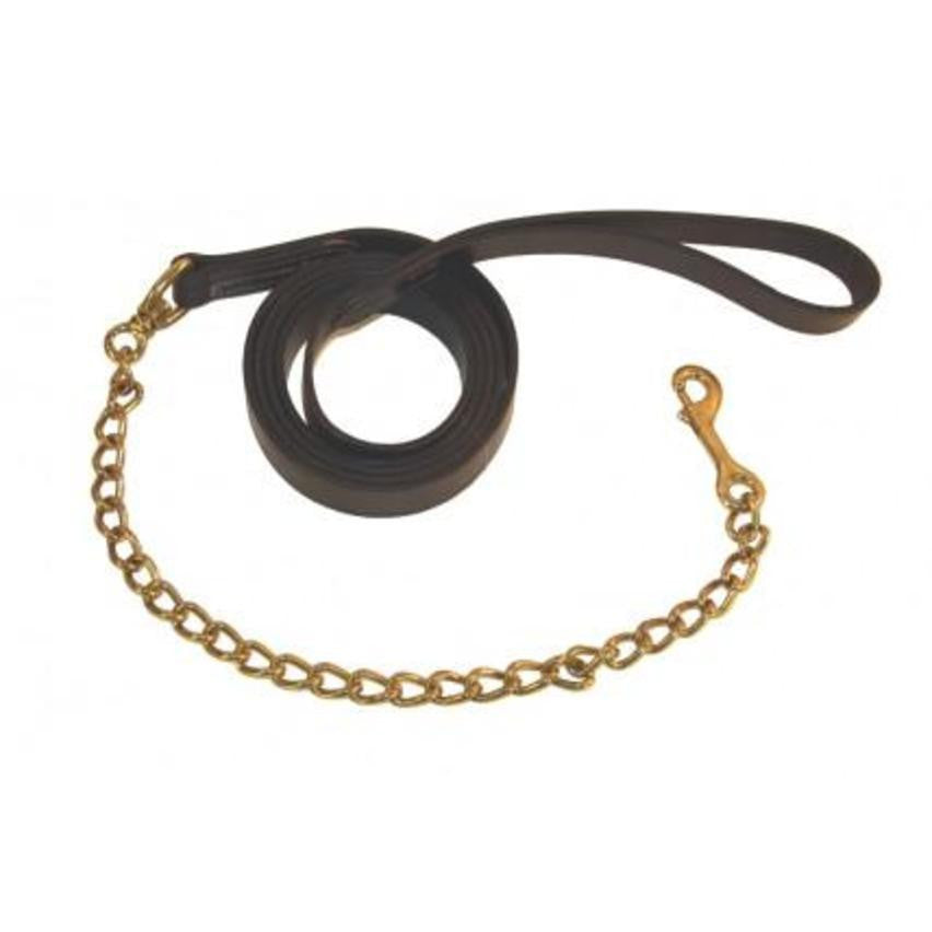 Berney Leather Show Lead with Brass Stallion Chain - RedMillsStore.ie