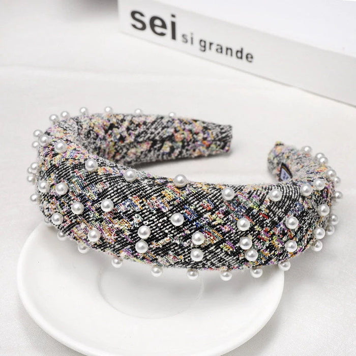 'Jessica' hairband with pearls in multicolour boucle - RedMillsStore.ie