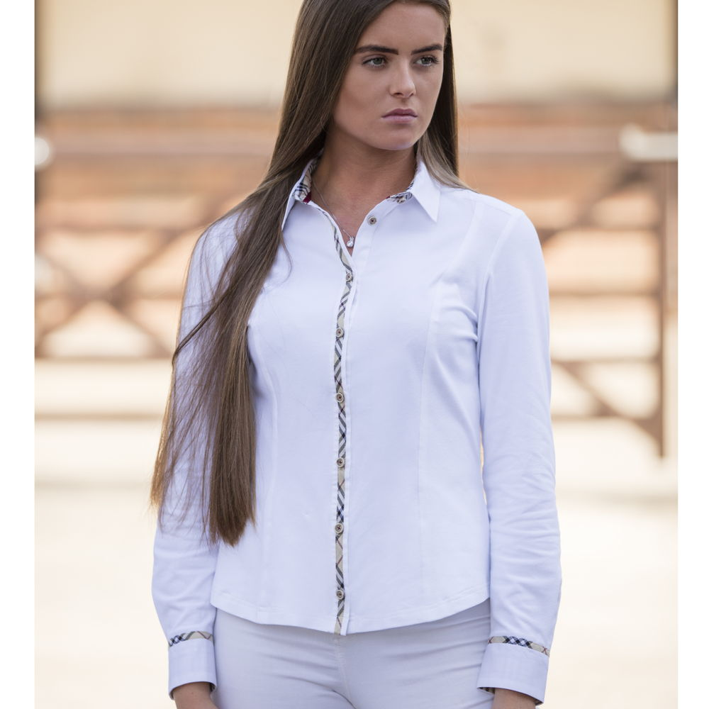 Welligogs Pheobe fitted womens shirt with check trim