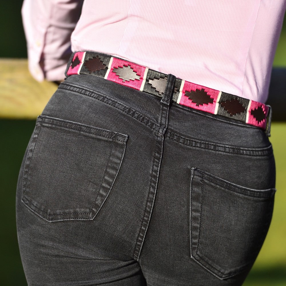 Pioneros leather polo belt - berry pink