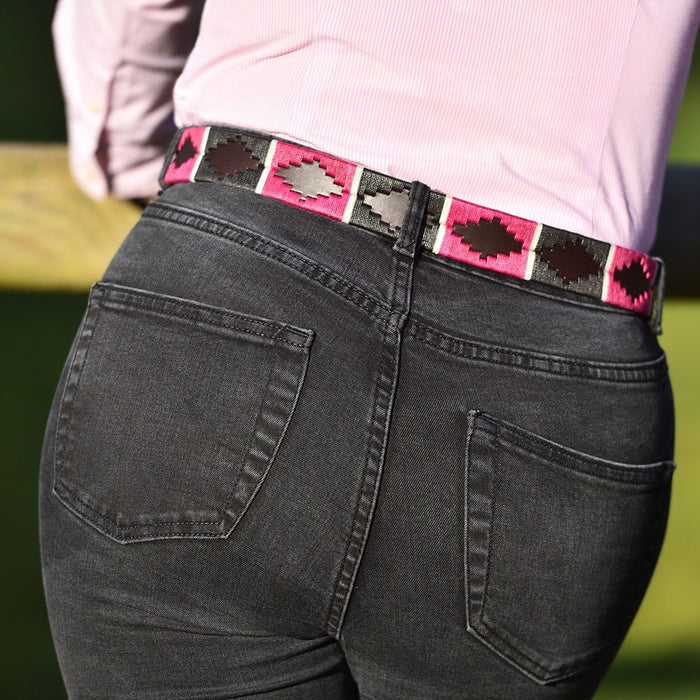 Pioneros leather polo belt - magenta & green - RedMillsStore.ie