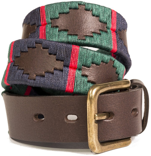Pioneros leather polo belt - navy & green - RedMillsStore.ie
