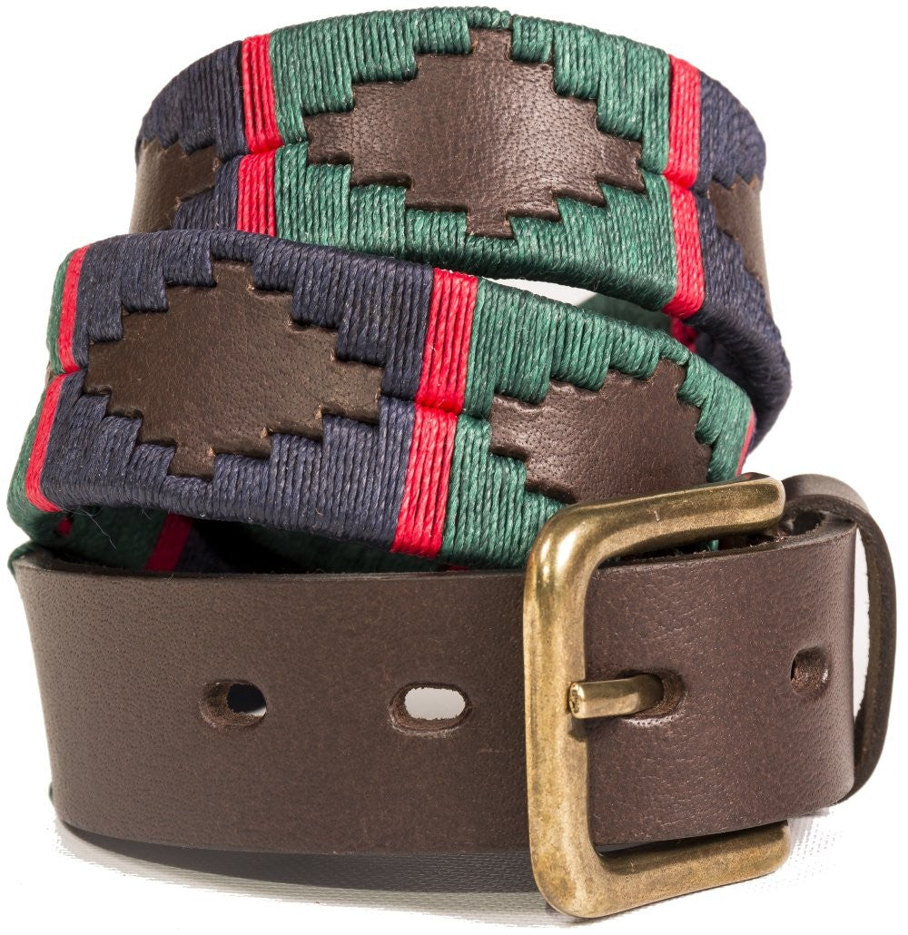 Pioneros leather polo belt - navy & green