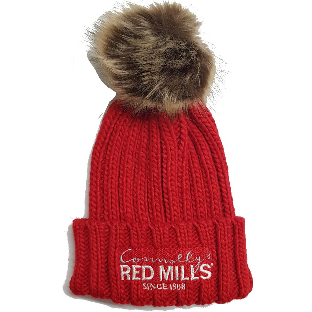 RED MILLS fur pom chunky knit bobble hat in red