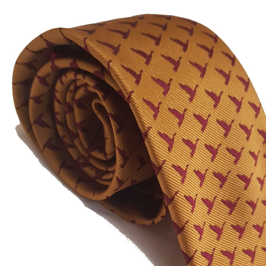 Red Mills bird print tie in ocre