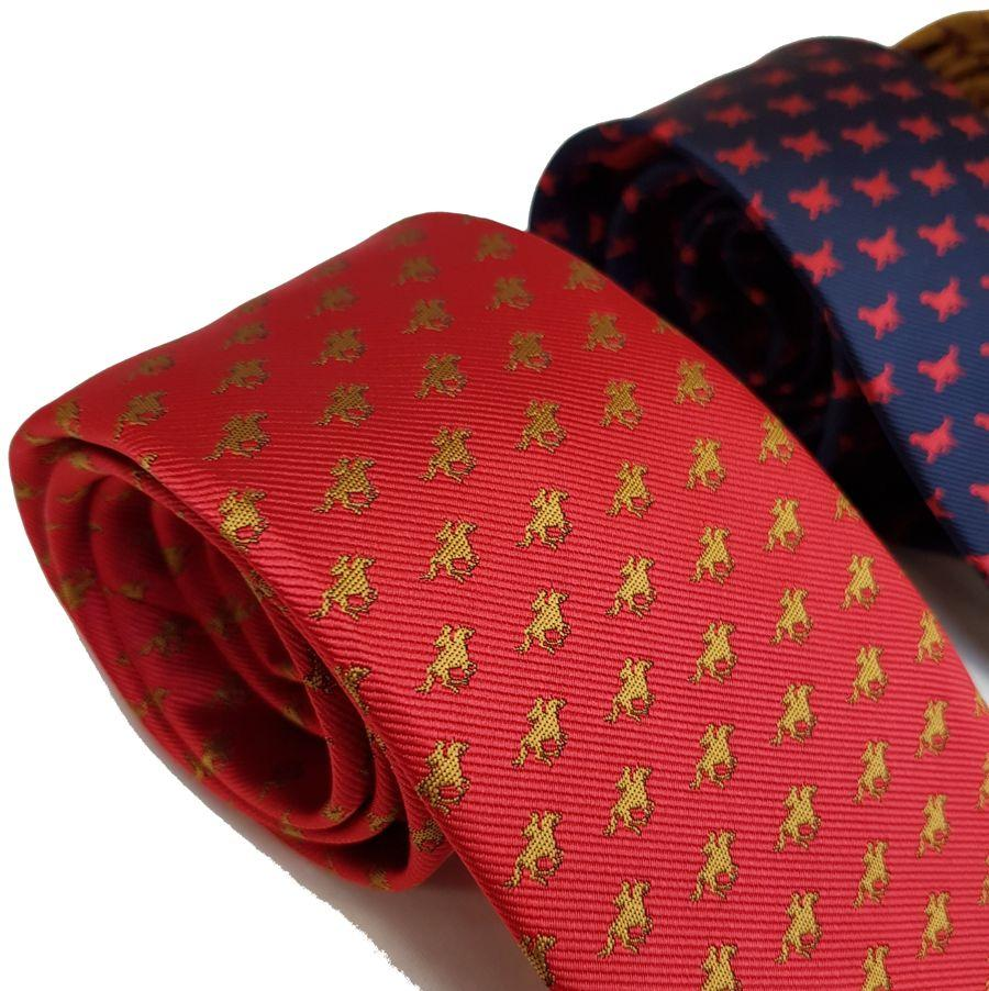 Red Mills cow print tie in red