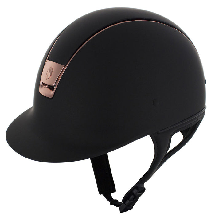 Samshield Shadowmatt helmet in black with rose gold trim - RedMillsStore.ie