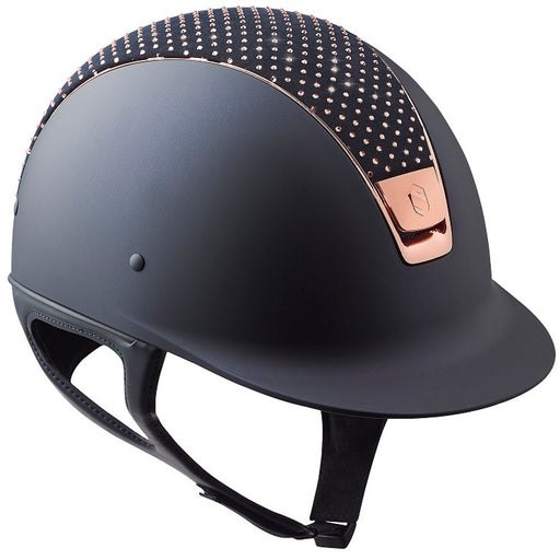 Samshield Shadowmatt helmet in black with Sparkling Top & Rose Gold Trim - RedMillsStore.ie