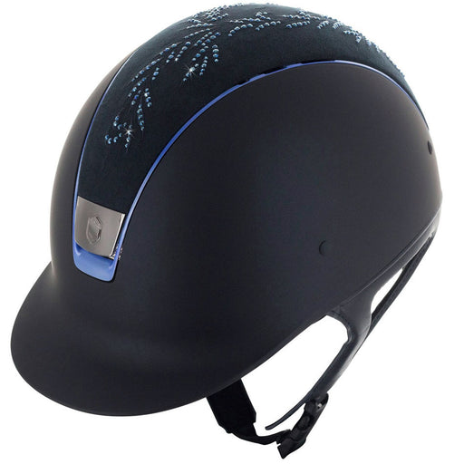 Samshield Shadowmatt helmet in blue with flower Swarovski top - RedMillsStore.ie