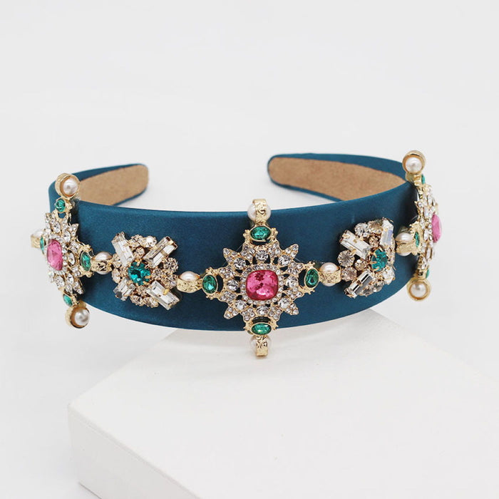 'Sinead' headband with crystals in blue - RedMillsStore.ie