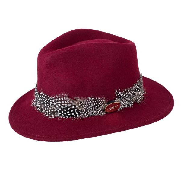 Hicks & Brown 'The Suffolk' Fedora in Maroon (Guinea Feather Wrap) - RedMillsStore.ie