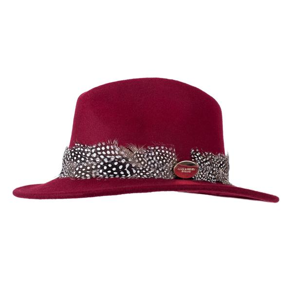 Hicks & Brown 'The Suffolk' Fedora in Maroon (Guinea Feather Wrap)