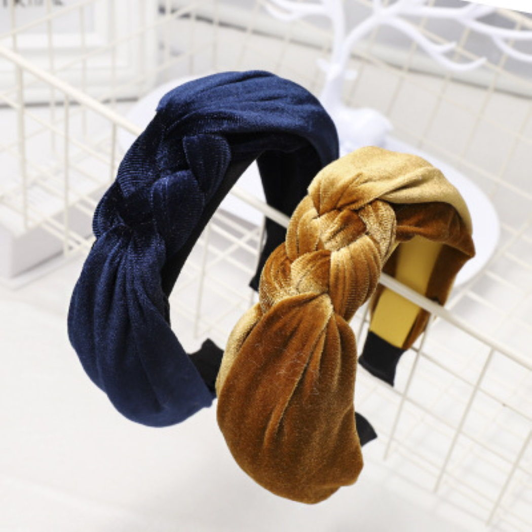 'Grace' velvet knot hairband in navy - RedMillsStore.ie