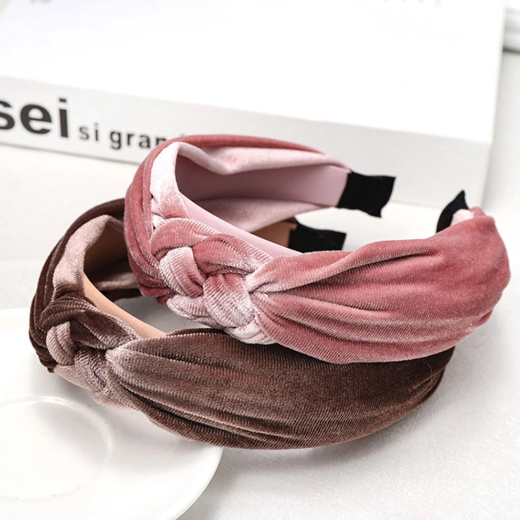 'Grace' velvet knot hairband in taupe - RedMillsStore.ie