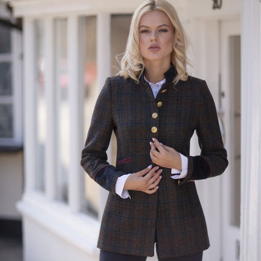 Welligogs Knightsbridge womens tailored jacket in navy & wine - RedMillsStore.ie
