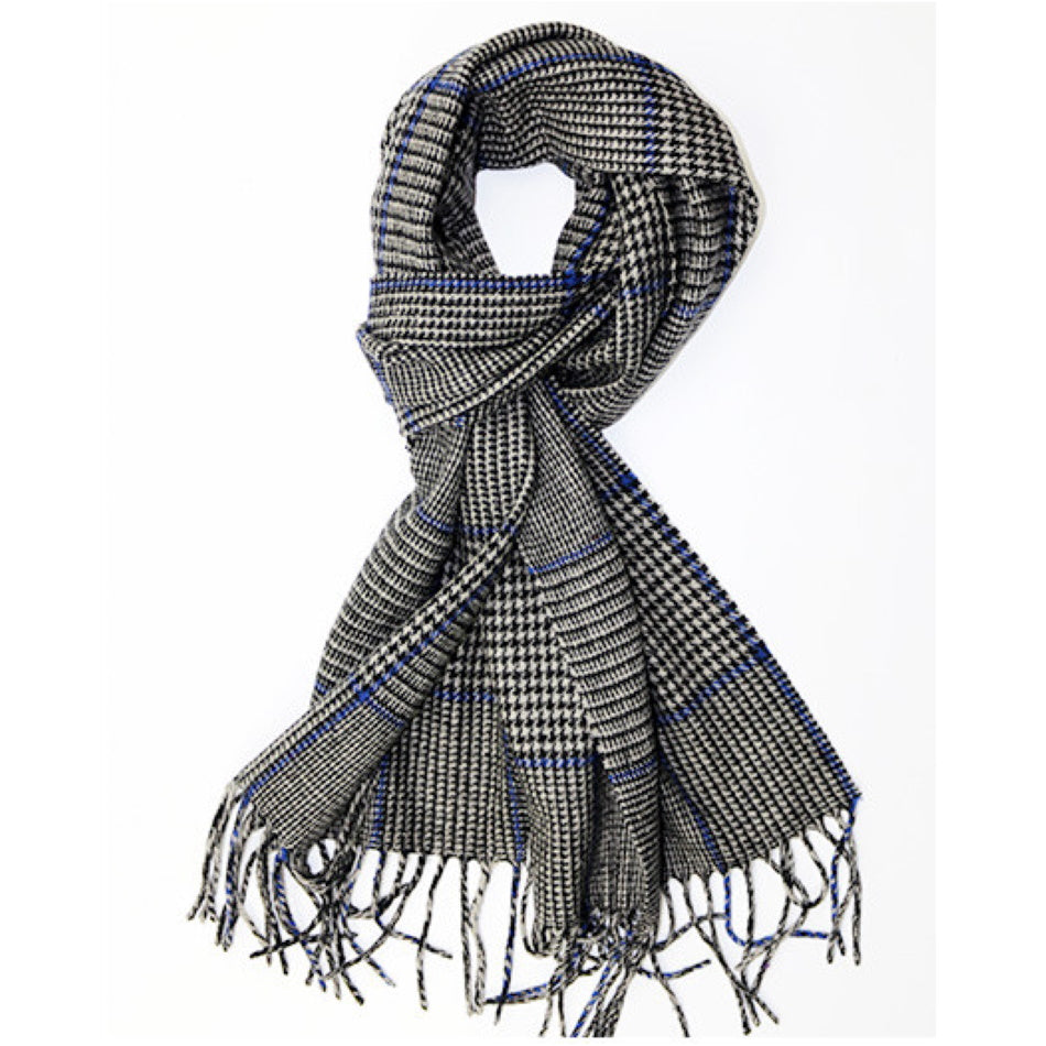 Pure wool mens scarf in dark in blue & black check