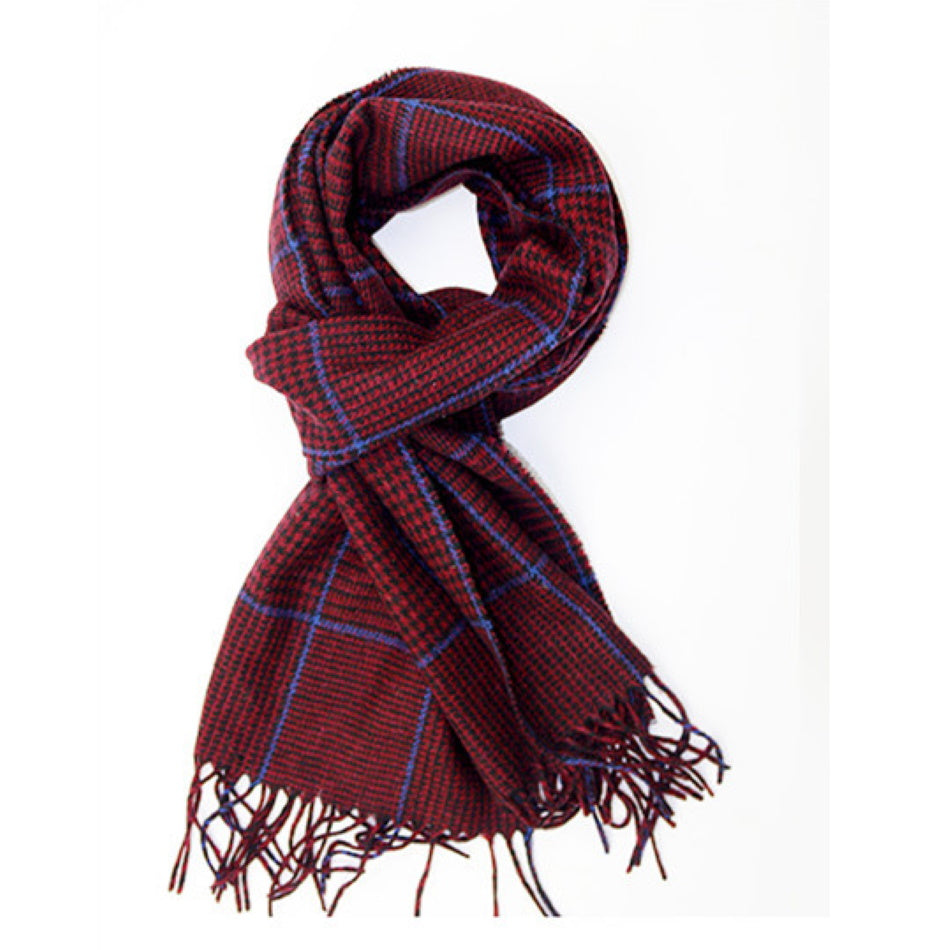 Pure wool mens scarf in dark red check