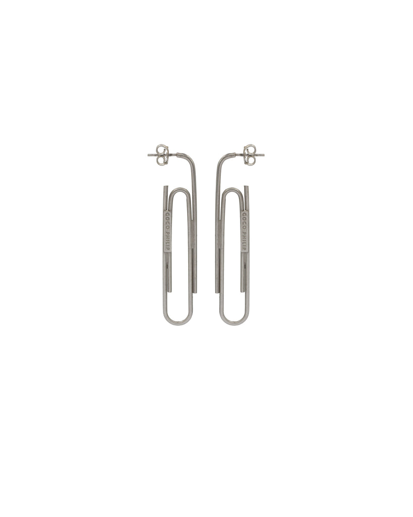 PAPER CLIP EARRINGS SILVER