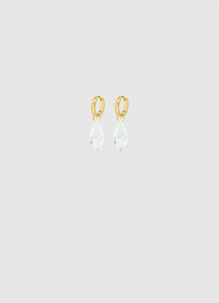 CRYSTAL SNAP EARRINGS GOLD