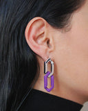 PURPLE N SILVER GOGO PHILIP CLASSIC EARRING