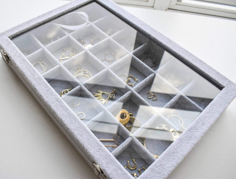 Amazon Jewelry Organizer Gray Clear Lid