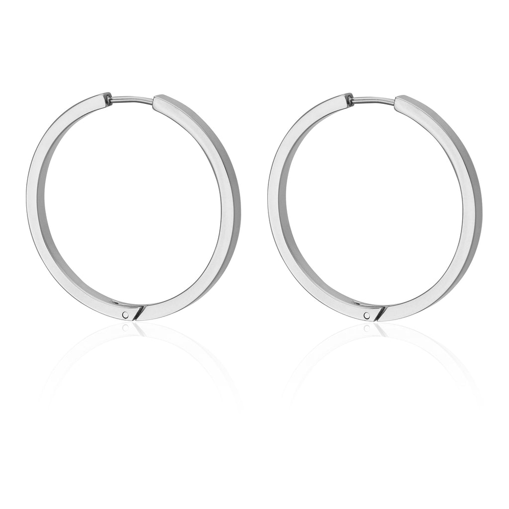 35MM SQUARE HOOP IN SILVER - Tini Lux