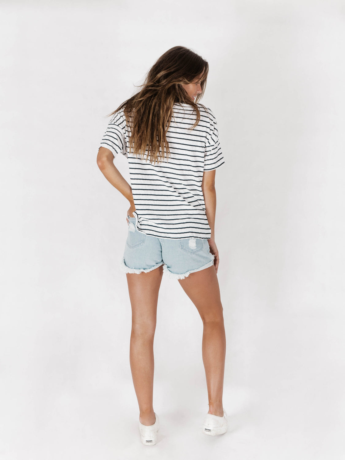 Oversized Tee Stripe Slub