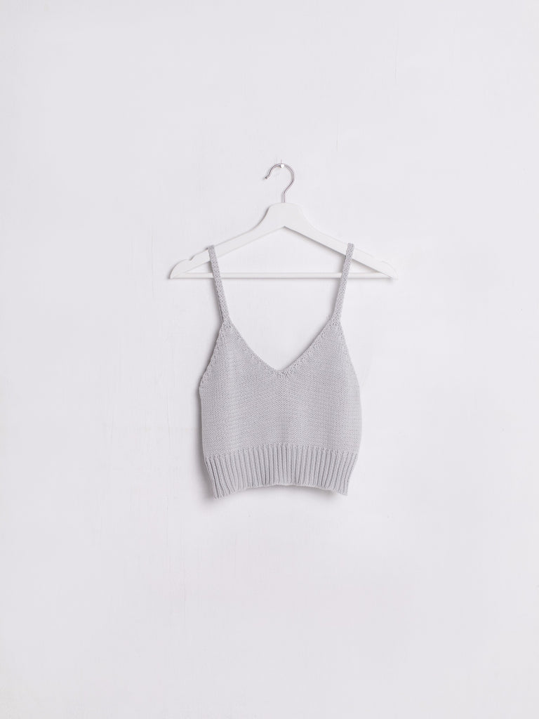 Knit V-neck Light Grey