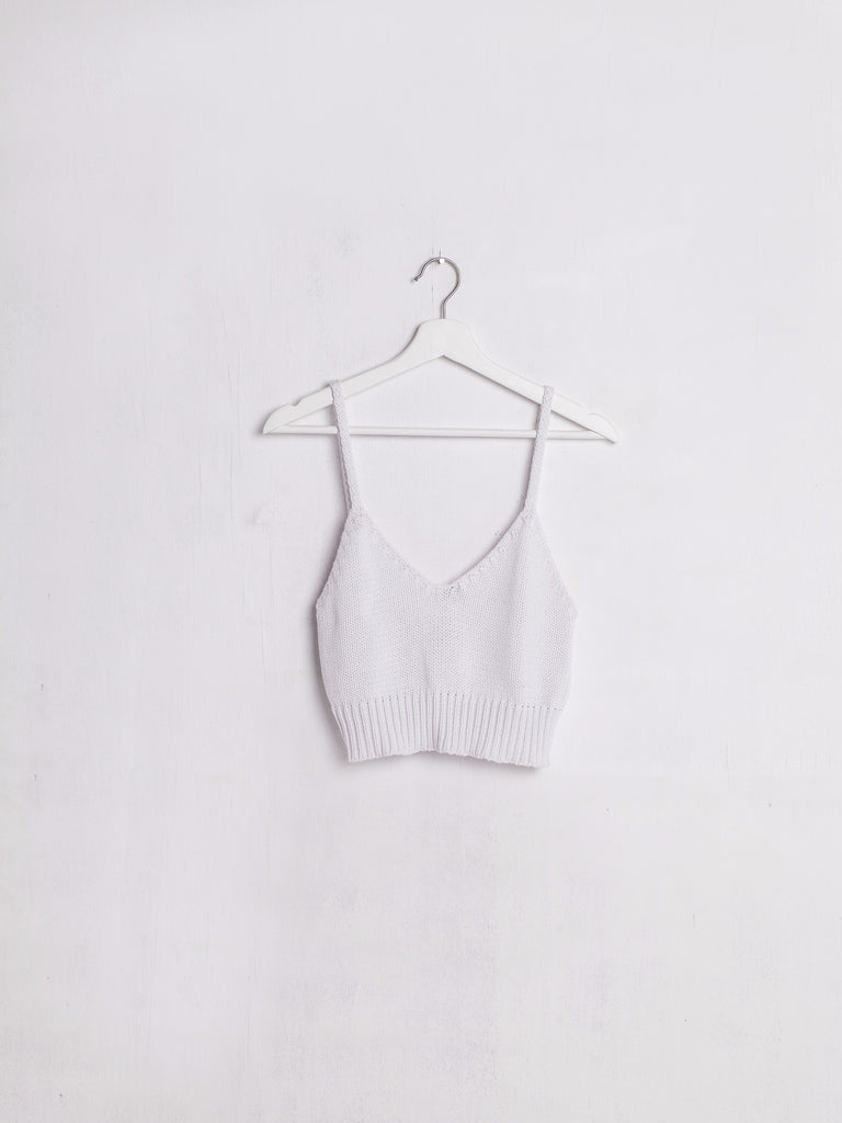Knit V-neck White