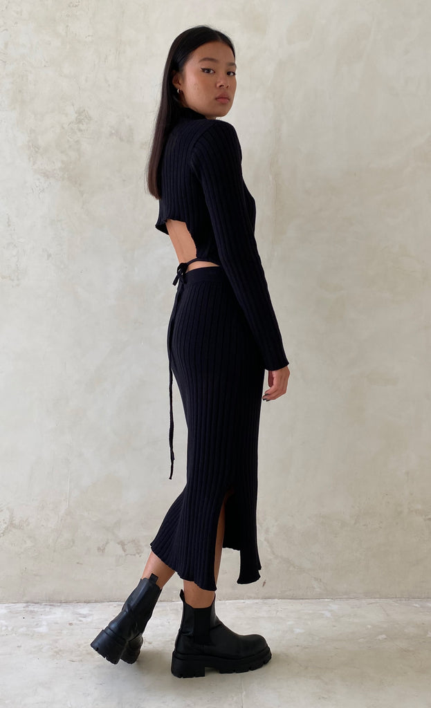 THE KNIT SKIRT BLACK