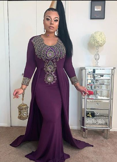 Passion Jonesz in the Plus Size Diana Cape Evening Gown