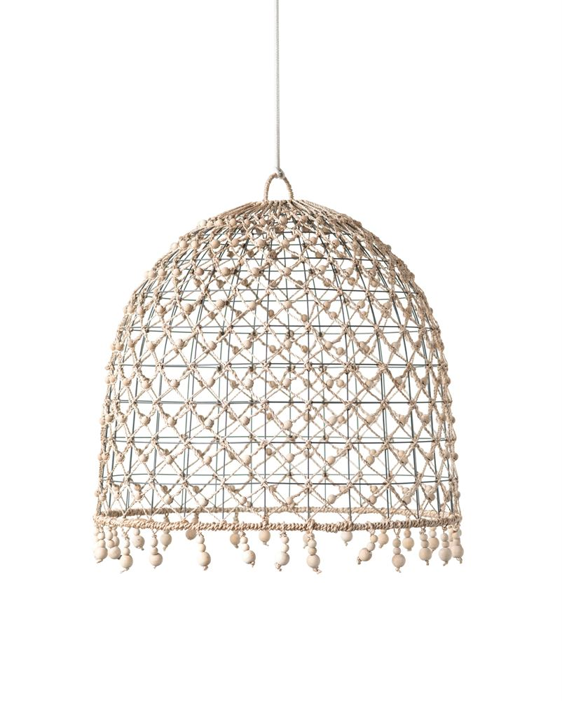 Woven Abaca & Metal Shade with Wood Beads