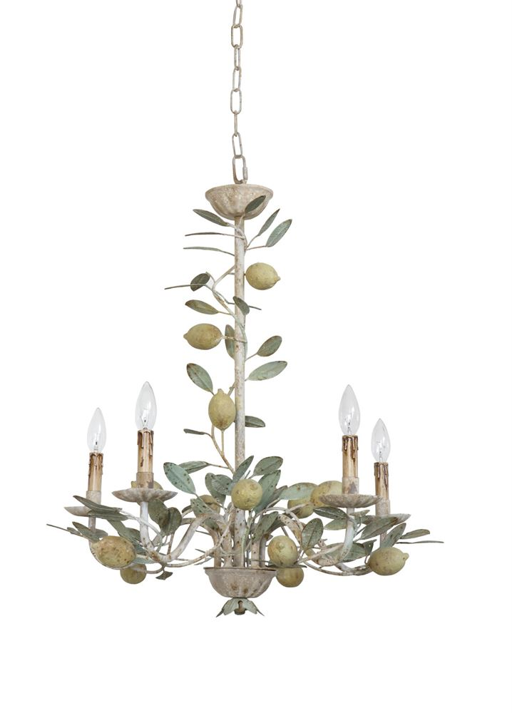 Vintage Reproduction Tole Metal Chandelier with Lemons