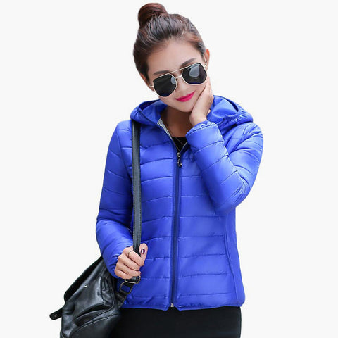 Solid Color Zipper Hooded Women Spring Jacket 2017 New Fashion Autumn Winter Slim Warm Ladies Coats Plus Size Outerwear - Oleevia's