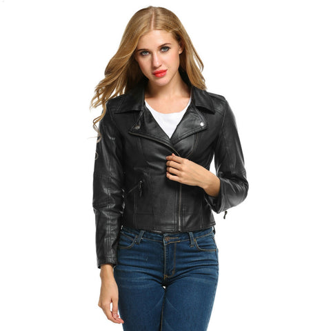 Fashion Autumn Winter Women Brand Faux Leather Jackets Black Blazer Zippers Coat Motorcycle Outerwear 41 - Oleevia's