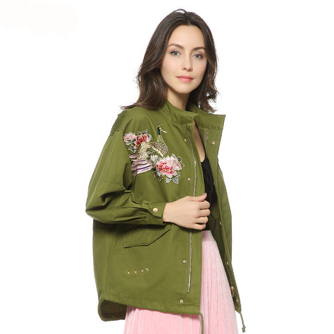 women army green floral embroidery bomber jacket patched rivet design loose flight jackets casual coat punk outwear capa CT1285 - Oleevia's