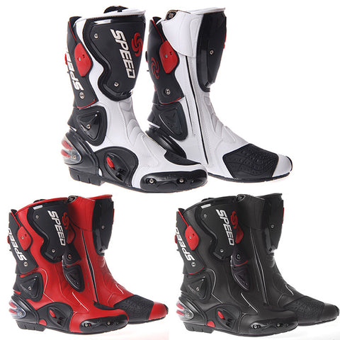 Motorcycle Motorbike Racing Sport Leather Boots Protection Biker Shoes Armoured Leather Waterproof Black Blue Red Race Boots - Oleevia's