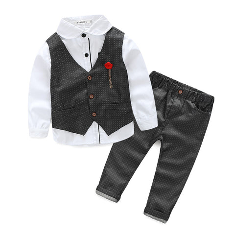 2016 Boys Clothing Sets Autumn Spring Shirt + Vest + Pants Boys Wedding Clothes Kids Gentleman Leisure Handsome Suit Free Ship - Oleevia's