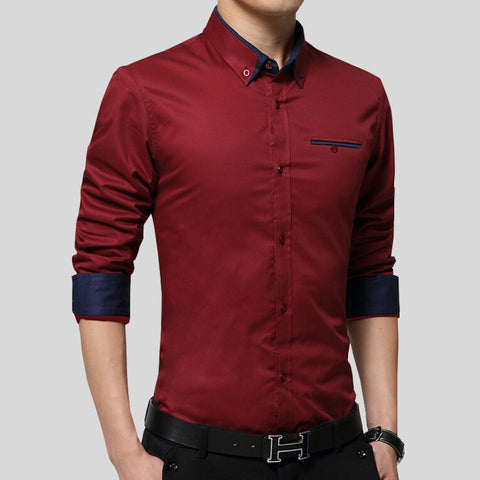 2017 New Men Shirts Business Long Sleeve Turn-down Collar 100% Cotton Male Shirt Slim Fit Popular Designs N837/ suits - Oleevia's