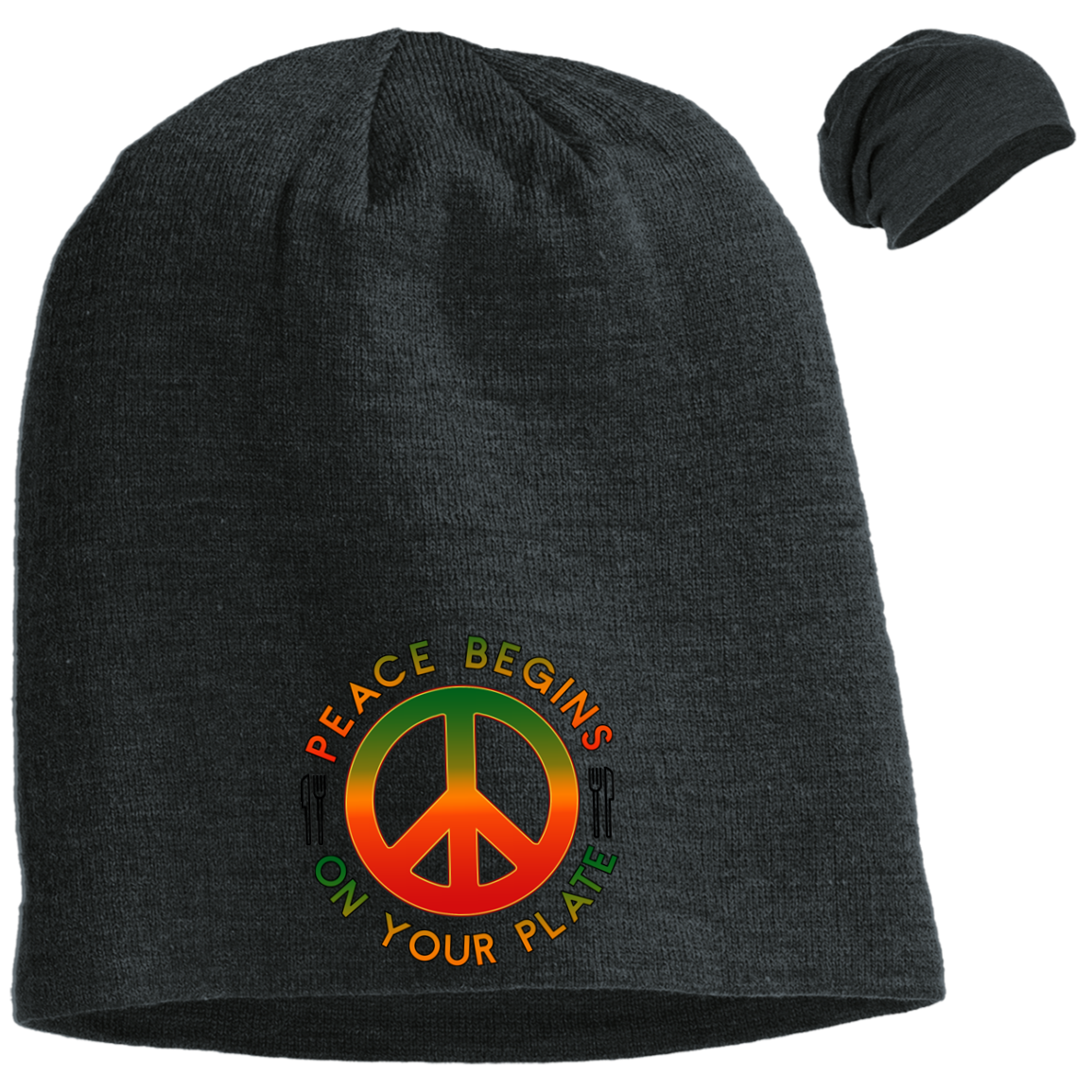 Peace Begins on Your Plate District Slouch Beanie