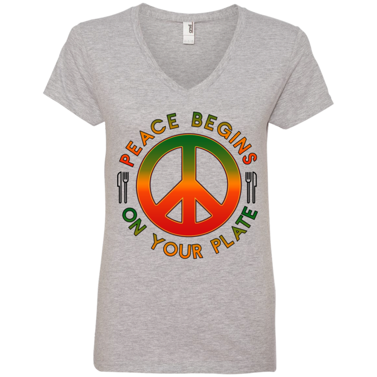 Peace Begins on Yoour Plate Ladies' V-Neck T-Shirt