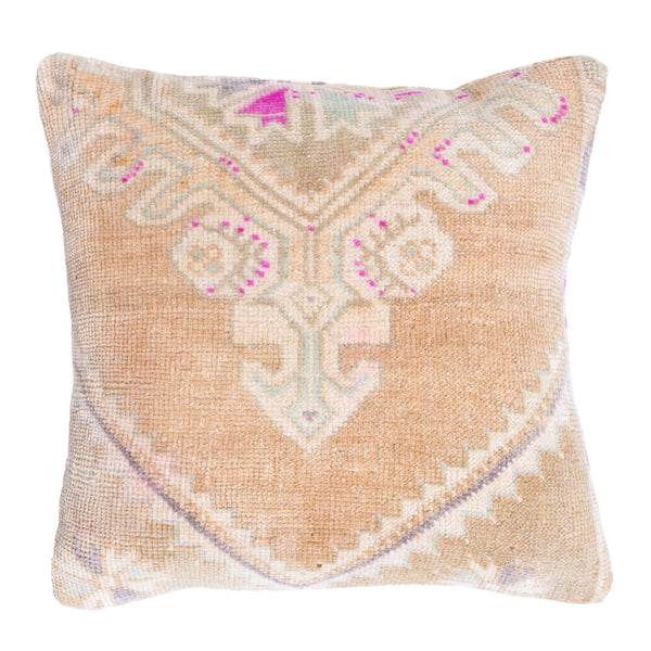 yonder living vintage kilim cushion sage green peach cream magenta