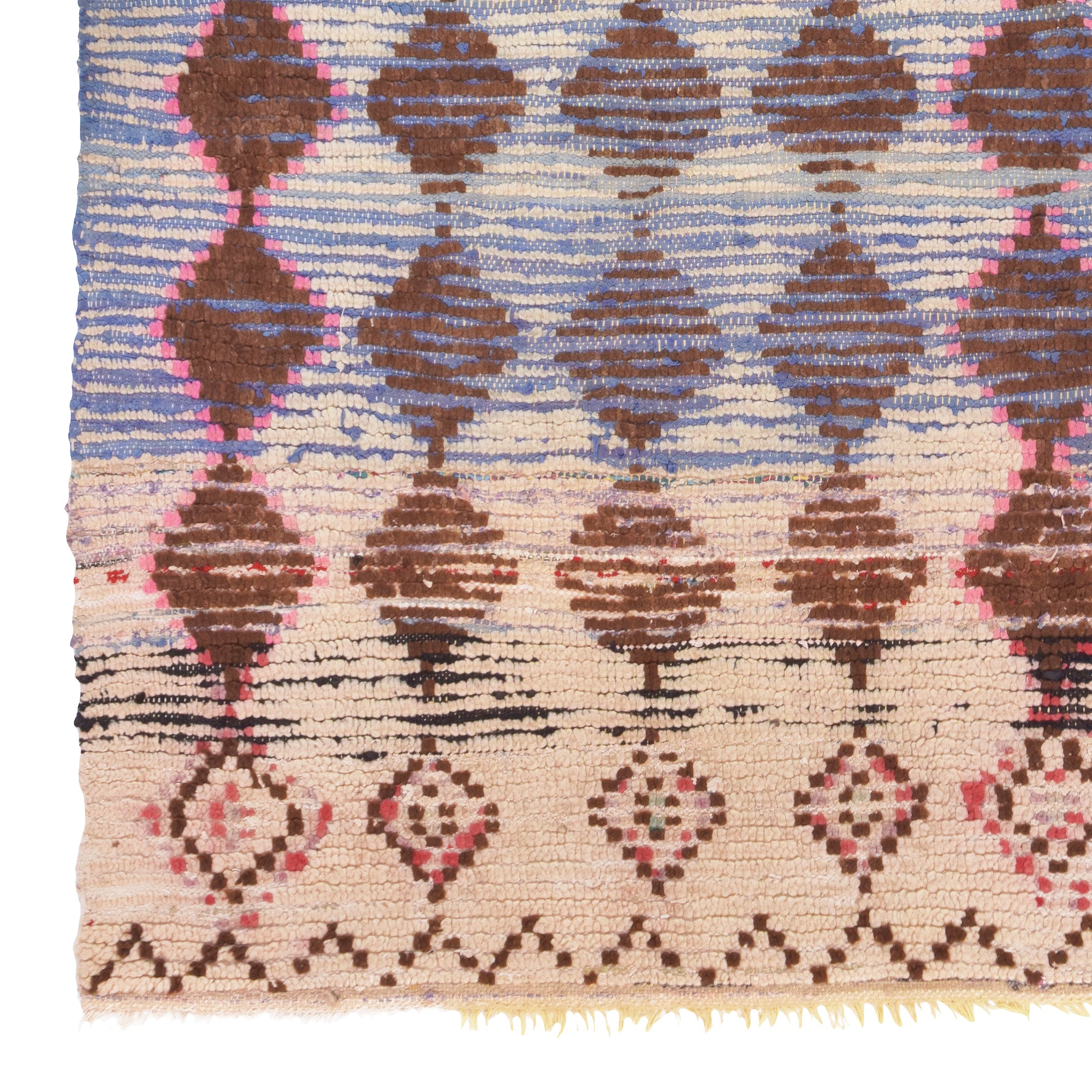 Yonder-living-Aurora-boujad-rug-pink-brown-blue-diamonds-checkerboard-vintage-moroccan-berber-marrakech